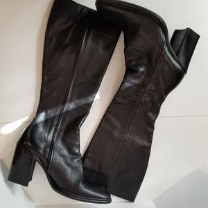 Women's black genuine leather high hils boots